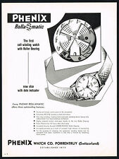 1950's Original Vintage 1956 Phenix Rollamatic Date Wrist Watch Art Print AD