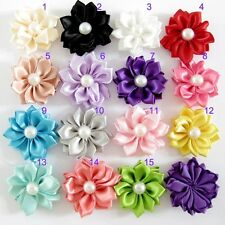 DIY Baby Girls Satin Flower With Pearl For Headband No Clip 15pcs=15Color