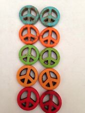 10 15mm Mixed Color #4 Peace Sign Beads 4mm Thick L@@K SALE