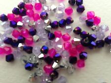 100 austrian crystal glass bobine biconique perles-violet, rose, & moitié argent mix - 4mm