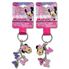 2 Disney Minnie Mouse 4 Charm Dangle Metal Key chains Ring for Backpacks Purses