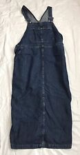 Riveted By Lee Romper Medium Denim Blue Jean Overall Side Button EUC
