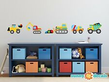 Construction Trucks Fabric Wall Decal with Dump Truck, Cement Mixer, and More