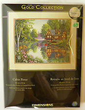Dimesions Gold Collection Counted Cross Stitch Cabin Fever woods lake nature