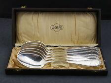 6 Löffel Menue Jugendstil 800/-Silber Wempe in orig.Box um 1900