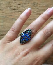 Stunning Vintage Style Rhinestone Dress Ring/Crystal Statement/Cocktail/Blue