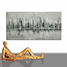 PAINTING LARGE ABSTRACT CITY ORIGINAL ART NEW OFFICE DESIGN COMPANY GREY TONES