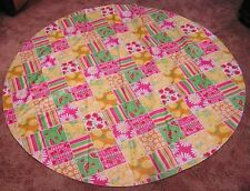 Vintage Vinyl Rd Tablecloth Cherries Melons Lemons Limes Pink Green Ylw SUMMER!