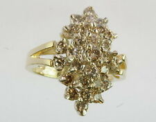Ladies 14K Yellow Gold 1 CTTW Diamond Cluster Cocktail Estate Ring 130128