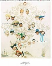 "Norman Rockwell genealogy print: ""FAMILY TREE"" 11"" x 15"" history ancestry 1959"