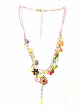 LADIES PINK FLORAL LAYERED NECKLACE NEW UNIQUE STUNNING SUMMER WEAR (B3)