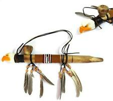 WOODEN EAGLE PEACE PIPE WITH FEATHERS new beads decorative bird pipe smoke