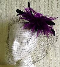 purple feather black veiling fascinator millinery hair clip ascot wedding bridal