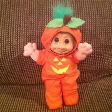 "VTG Russ Pumpkin Troll Doll 12"" Jack O Lantern Halloween Costume Green Hair 3858"
