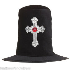 Halloween Becchino CAPPELLO GOTICO Silver Cross Cappello Fancy Dress Cappello Impresario di Pompe Funebri
