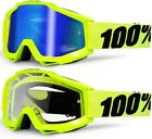 100% PERCENT ACCURI MX MOTOCROSS GOGGLES FLORESCENT FLOU YELLOW / BLUE MIRROR