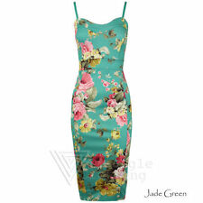 Womens Green Summer Dress Jade Mint Ladies Floral Bodycon Celeb 8 10 12 14 16 26