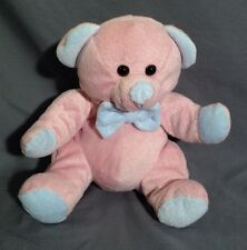 Pink Teddy Bear Plush Stuffed Animal With Blue Nose Paws Bow And Ears 10""