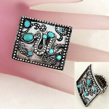 Antiqued Snake Themed Womens Ring Size 8 to 11 Stretch with Blue & Clear Stones