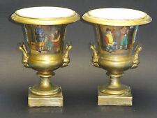 PAIR of 19c EMPIRE PERIOD GOLDEN OLD VIEUX PARIS POLYCHROME w/ SCENE MEDICI VASE