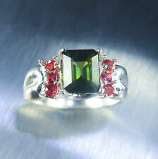 1.85ct Natural Green Tourmaline &red sapphire 925 Silver ring N1/2 or 7 or resiz