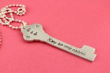Key To My Heart Hand Stamped Heart Necklace - Handstamped love gift