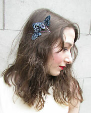 2 x Black Grey Butterfly Hair Clips Slides Feather Fascinator Grips Silver 7AM
