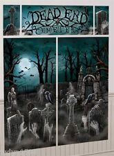 HALLOWEEN HORROR CEMETERY SCENE SETTER GRAVEYARD TOMBSTONE GHOST PARTY POSTER