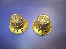 Vintage Teisco Univox Epiphone  '60s GOLD/CLEAR TOP Knob SET OF 2 ! JAPAN !