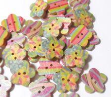 50 Bottoni in legno a forma di Fiore in 3 Fantasie Miste 17mm