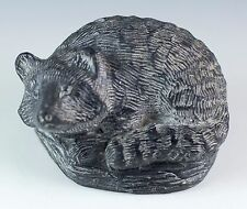 Wolf Sculpture Carved Stone Raccoon Figurine Hand Made In Canada