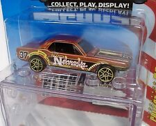 HOT WHEELS NEBRASKA 65' FORD MUSTANG CONNECT CARS COLLECT PLAY DISPLAY 2008 MOSC