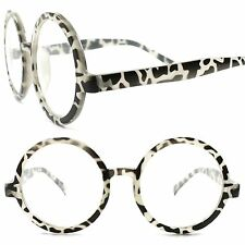 Large Oversized Vintage Style Round Circle Leopard Print Clear Lens Eye Glasses