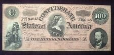 $100 1864 Confederate Note Treasury Stamp on Reverse