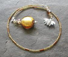 Hecho a Mano Ámbar Dorado Tonos Perlas De Vidrio Honeybee encanto marcador