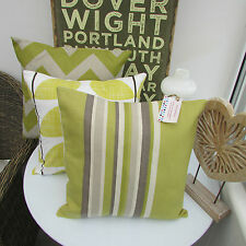 "CUSHION COVER GREEN STRIPE COTTON FABRIC 16"" TAUPE GREY JOHN LEWIS RETRO COUNTRY"