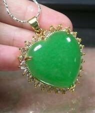 Gold Plate CHINESE Green JADE Pendant Love Heart Amulet 236687