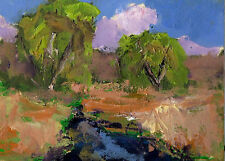 original  aceo oil painting modern impressionist landscape by Ken Burnside