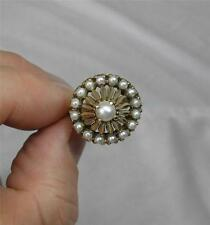 Pearl Engagement Wedding Ring Princess Antique 10K Gold Rare