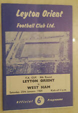 1964 FA CUP - LYTON ORIENT v WEST HAM (4th Round)  25th January 1964