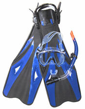 Anacapa Dive Set, Crystal Silicone Wide View Mask 100% Dry Snorkel Fishtail Fins