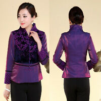 purple Chinese Tradition Women's silk/satin evening coat Jacket s-3xl