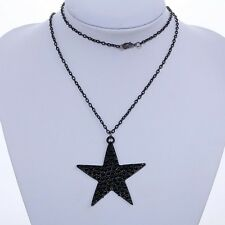 Steam punk Black Five Point Star Wicca Rockabilly Long Chain Necklace jewelry