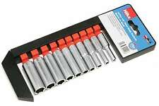 "10PC Lifetime Guarantee Deep Socket Set Long reach Sockets on Rail 1/4"" drive"