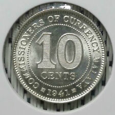 *SUPERB Grade* 1941 - Malaya - 10 Cents George VI Silver #CIS