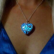 Magical Heart Glow in the Dark locket Steampunk Hollow Fairy Necklace Jewerlly