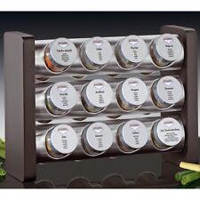 Küchenprofi GEWÜRZSTÄNDER 12 Gewürze Gläser Gewürzregal schwarz Holz Edelstahl