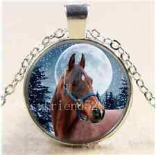 Winter Horse Photo Cabochon Glass Tibet Silver Chain Pendant Necklace
