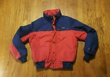 Gerry Coat LARGE full zip red navy THERMOLITE hooded down puffer VTG made in USA