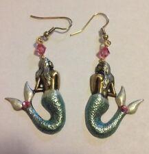 24k Gold Pld Art Deco Handpainted Mermaid Earrings Nautical Coastal Earrings